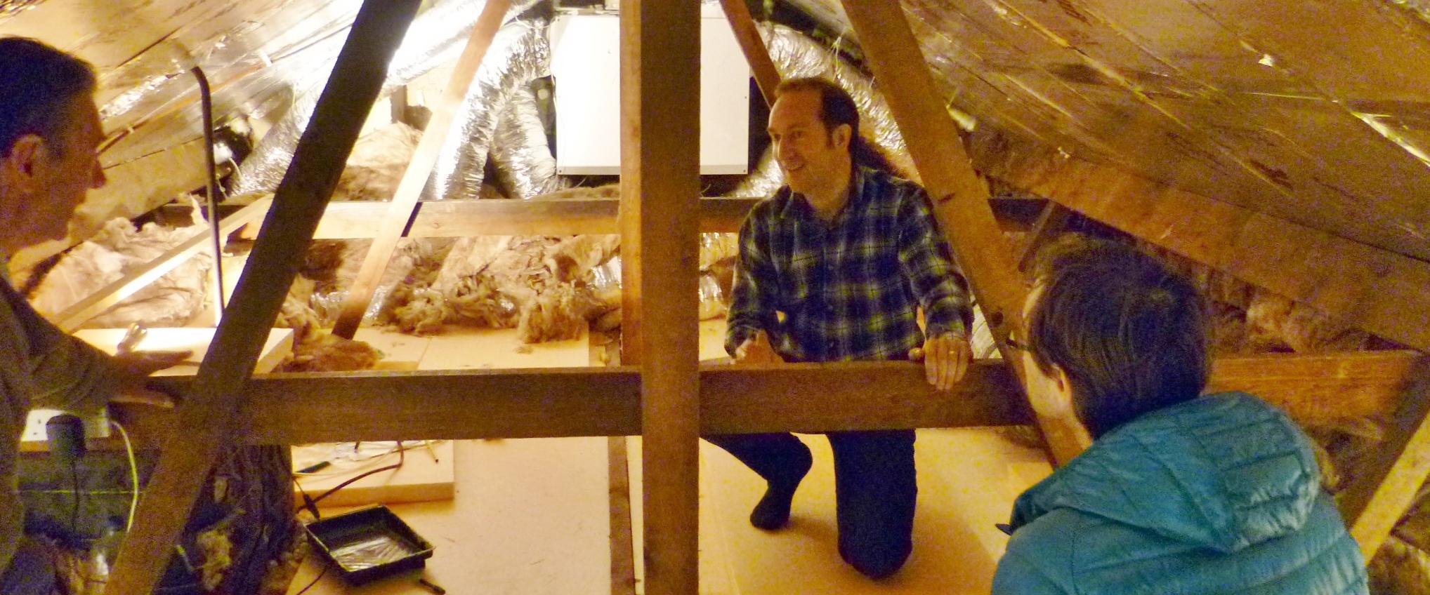 Loft insulation and boarding